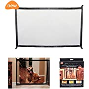 Fomei Pet Safety Gate - Magic Gate Safety Enclosure Portable Folding Safe Guard, Pet Isolation Net, Retractable Mesh Gate Pets Dog Cat Install Anywhere (L: 70.8 x W:28.3 inches)