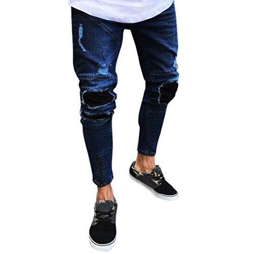 Odjoy Jeans da Uomo con Foro con Cerniera da Locomotiva,Pantalone Attillato strappato da Uomo Biker Slim Fit con zipera Skinny sfilacciato Pantaloni Primavera e Autunno(Blu Scuro,S)