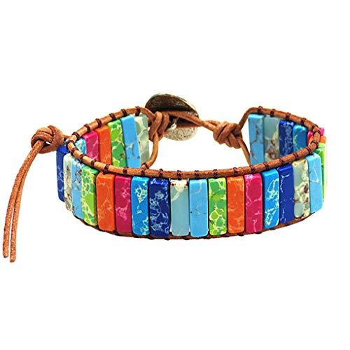 Qinghengyong Weaving Bracelet Women Leather Wrap Rectangle weaving bracelet weaving Stone Beads Braided Wristband Bangle Wrist Jewelry