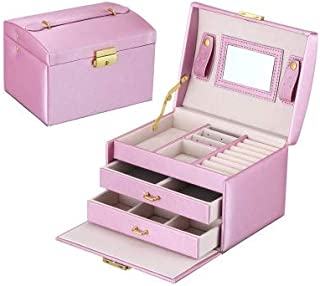New Home Storage Simple Portable Jewelry Box Earrings Ring Storage Consolidation Box with Drawers, Size : 17.5 x 14 x 13cm(White) Used for Home (Color : Violet)