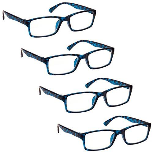 The Reading Glasses Company Gafas De Lectura Azul Carey Lectores Valor Pack 4 Estilo Diseñador Hombres Mujeres Rrrr92-3 Potencia óptica +1,50 4 Unidades 88 g