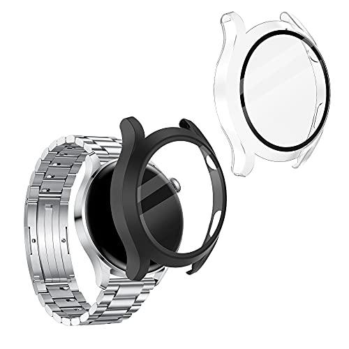 kwmobile 2X Carcasa Compatible con Huawei Watch 3 - Funda con Vidrio Templado y Marco - En Negro/Transparente