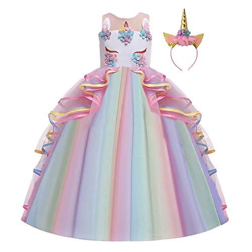 FMYFWY Niña Vestido de Unicornio Princesa Cumpleaños Sin Mangas Disfraz de Carnaval...