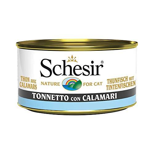 Schesir Comida Húmeda para Gato Atún con Calamares, 85 gr.