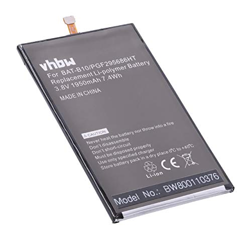 vhbw Li-Polymer Akku 1950mAh (3.8V) für Handy Smartphone Handy Acer Liquid Jade, Jade Plus, Jade S55 wie BAT-B10, KT.0010S.013, PGF295686HT.