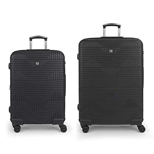 Gabol - Shock | Rigid Black Travel Suitcase Set with Medium Trolley and Large Trolley
