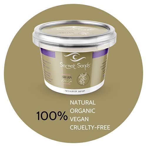 Secret Sands - Original Moroccan Unscented Argan Beldi Soap Paste, 100% Natural & Organic, 100% Vegan & Hypoallergenic Cosmetic, Hammam & Spa Quality Nourishing and Softening Soap (Argan, 0.55 lb)
