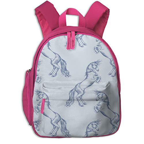 Zaino per bambini 2 anni,Rearing Horses, Soft Blue Grey_5491-thistleandfox,For children's schools Oxford cloth (pink)