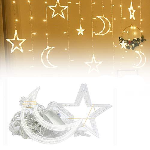 Lixada Cadena Luces de Navidad Guirnalda de Luces Luna Estrella Cortina Lámpara Navidad Luces Decorativas 220V...