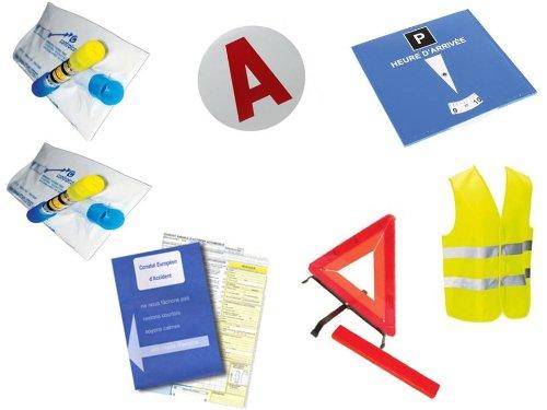 Equilibre et Aventure Auto-Sicherheitsset für Junge Fahrer: 1 Unfallkonstellation + 2 Alkoholtester NF + 1 Warndreieck + 1 Magnetscheibe A + 1 Parkscheibe
