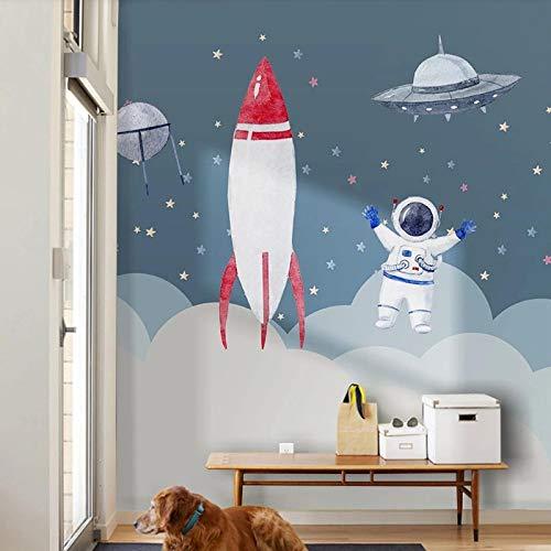 Msrahves fotomurales decorativos pared Espacio cohete astronauta universo pared vinilos decorativos papel fotografico 3D Fondos de pantalla Fondo Pared Sala de estar Dormitorio TV Sofá Mural Papel tap