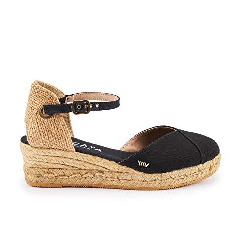 Viscata Pubol, Espadrillas classiche con cinturino alla caviglia e punta chiusa, con zeppa da 5 cm, Made in Spain nero Size: 39 EU