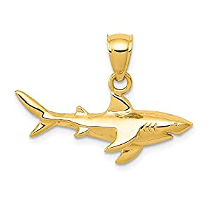 14k Yellow Gold Shark Pendant Charm Necklace Sea Life Fish Man Fine Jewelry Gift For Dad Mens For Him
