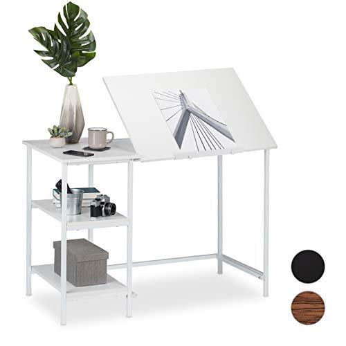 Relaxdays Schreibtisch neigbar, 3 Ablagen, mehrere Winkel, Computer- & Arbeitstisch, HxBxT: 75 x 110 x 55 cm, Weiß