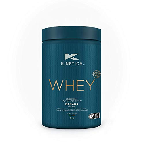 Kinetica Whey Protein Powder, 33 Servings, Banana, 1kg. Low Carb, Grass Fed Whey. High Protein Source for Lean Muscle Growth