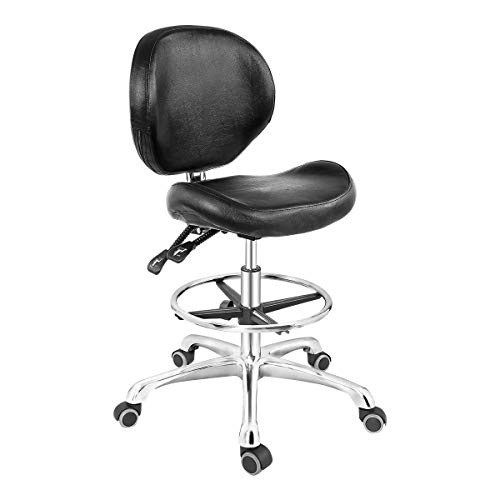Grace & Grace Rolling Drafting Chair Height Adjustable Stool with Backrest...