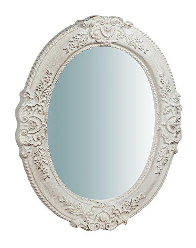 Biscottini Specchio Specchiera da parete in VERTICALE o ORIZZONTALE stile Shabby in legno con finitura bianca anticata misure L40xPR2,5xH32 cm produzione Artigianato Fiorentino Made in Italy
