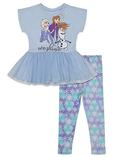Disney Frozen Little Girls Short-Sleeve Peplum Ruffle Top and Leggings Set Blue 6X