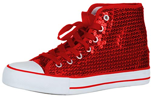 Brandsseller Damen Sneaker Pailletten Halbhoch/Damenschnürer/Damenboots - (37 EU, Rot)