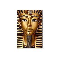 ZNNHERO古代エジプトのファラオキャンバス絵画ポスターとプリントツタンカーメンゴールデンカラー壁アート写真リビングルームの装飾-60X80Cmx1フレームなし