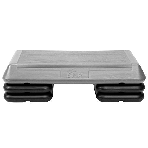 "The Step Original Aerobic Platform – Circuit Size Grey Aerobic Platform and Four Original Black Risers Included with 4"", 6"", and 8"" Platform Height Options"