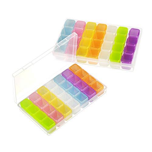 SEELOK Caja Transparente Compartimentos YGS 2pcs para organizar Joyas de Caja plastica de 28 seperadora pequeña de Almacenamiento de Pendientes con Etiqueta Adhesiva (Blue)