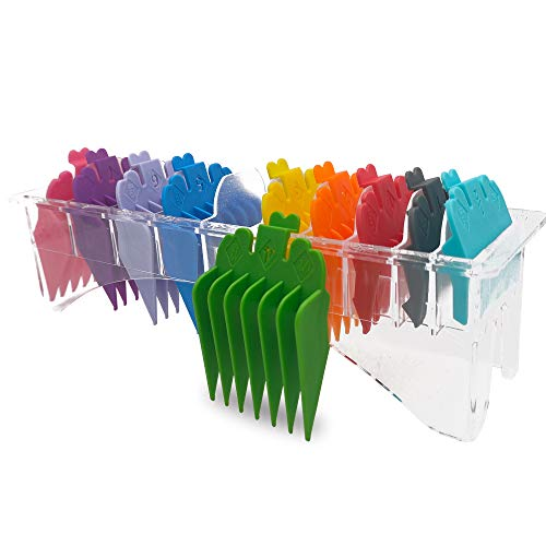 Professional Hair Clipper Guide Combs,Hair Clipper Cutting Guides/Combs #3170-400 -From 1/8inch to 1inch compliable with Most Whal Clippers (10 color Rainbow)