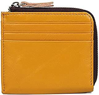Mens Leather Bag Fashion Genuine Leather Men's Short Card Holder Multifunction Business Male Small Clutch Wallet Casual Brief Coin Purse for Man Bag (Color : Yellow, Size : S)
