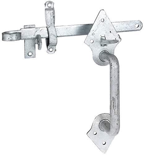 GAH-Alberts 310387 Klinken-Set | für Flechtzaun- und leichte Holztore | zum Anschrauben oder Einschlagen | feuerverzinkt | Länge 260 mm