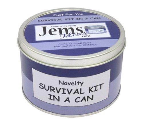 Glückwunsch-Survival-Kit in einer Dose. Lustiges Geschenk und Karte. Neuer Job