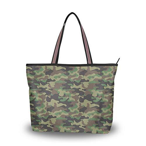 Bigjoke Handtaschen für Damen, Motiv: Wald, Camouflage, Militär, Armee, Camouflage, für Damen, Mehrfarbig - mehrfarbig - Größe: Large