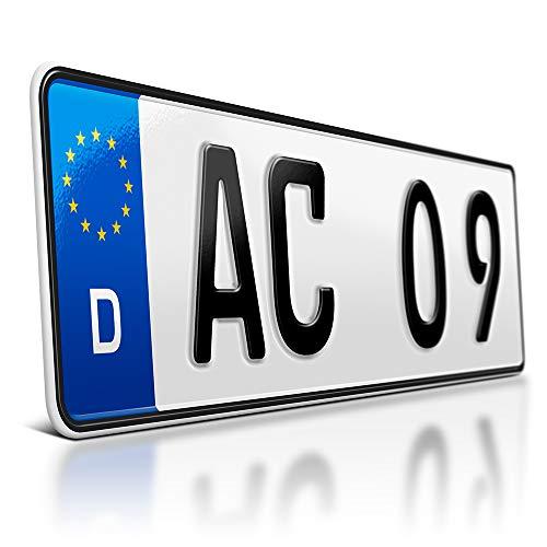 schildEVO 1 Kfz Kennzeichen   390 x 110 mm   DIN-Zertifiziert – individuelles EU Wunschkennzeichen   PKW Nummernschild   kurzes Autokennzeichen   Auto-Schild   Fahrradträger & Anhänger   DHL-Versand