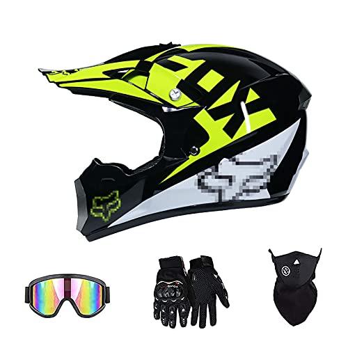Conjunto De Casco De Motocicleta Todoterreno, con Gafas + Guantes + Protector Facial Amarillo Negro Brillante para Deportes De Cross-Country En Bicicleta De Montaña