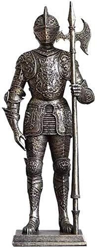 WQQLQX Statue Ritterskulptur, mittelalterliche Krieger gepanzerte alte Rom alte Ritterharz-Statue Kunst Dekoration Handwerk Modell Desktop Dekoration Skulpturen (Size : A)