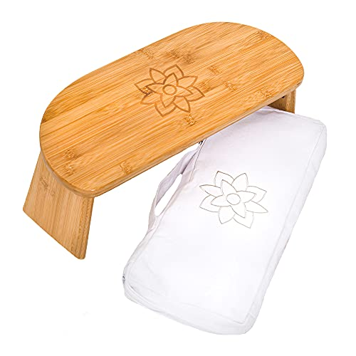 Mindful and Modern Folding Meditation Bench with Locking Magnetic Hinges - Wooden Seiza Kneeling Stool for Zen Meditating Posture - Bonus Portable Travel Carry Bag - Ergonomic Bamboo Yoga Stool