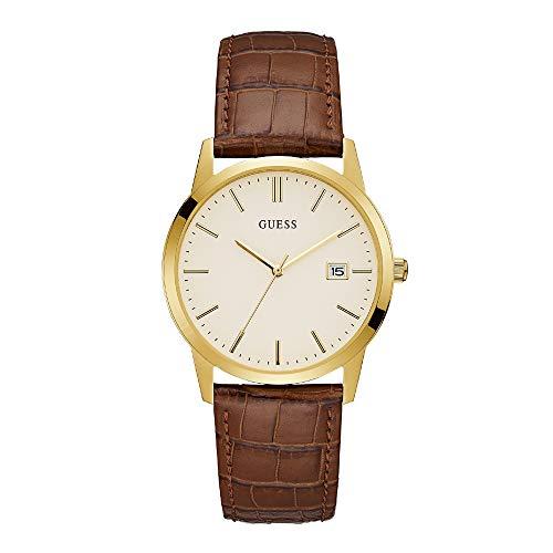 Guess Camden - Armbanduhr - Herrenuhr - Edelstahl - goldfarben - Lederarmband Braun
