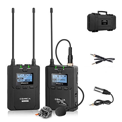 Wireless Microphone System, COMICA CVM-WM200C 96-Channels Professional UHF Lavalier Lapel Microphone Kit for Canon Nikon Sony DSLR Cameras, XLR Camcorders and Smartphone (1TX+1RX)