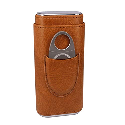TOIKA Classic Brown Leather Cedar Wood Lined Travel 3 Cigar Case with Solid Cigar Cutter