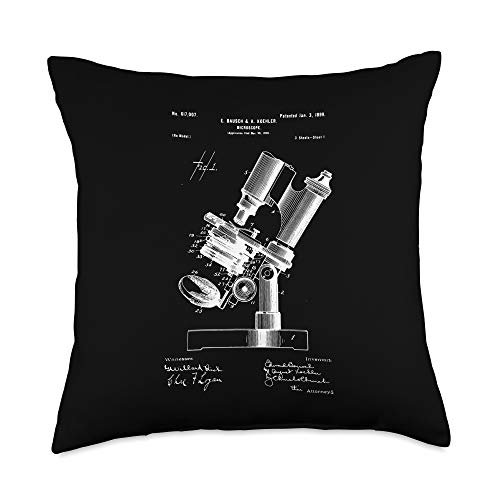 Microscopy Microscope Microscope Microscopy Lover retro Science Microbiology Throw Pillow, 18x18, Multicolor