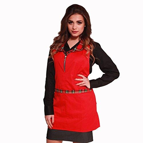 Damen Schürze Weihnachten Kleidung Weihnachten Zip Schottische Bar Arbeit Baumwolle Kilt, rot