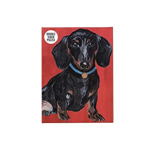 Talking Tables-De Doble Cara y póster Dachshund Rojo de 100 Piezas   Mascotas ilustradas, Animales, Perros Salchicha   para niños, Adultos, cumpleaños, Color Puzzle (PUZZ-Dog-DACH)