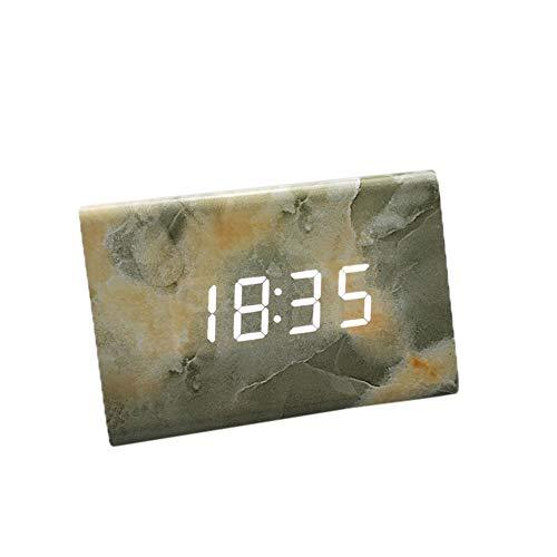 Zaru-Mode Zarupeng digitale klok, draagbare wekker met houten elektronisch LED-display, spraakbediening, temperatuur weergave, voor slaapkamer, s nachts kinderen