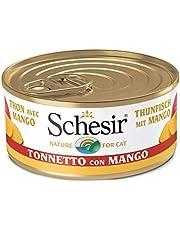 Schesir, Comida húmeda para Gatos Adultos, Sabor bacoreta con Mango en gelatina Blanda con Verdaderos trozos de Fruta - Total 1,8 kg (24 latas x 75 gr)