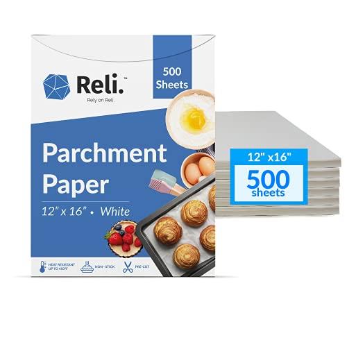 Reli. 500 Pcs Parchment Paper Sheets, Bulk | 12x16 in. | White Parchment Sheets / Baking Sheet Paper | Non-Stick, Pre-Cut Pan Liners | Parchment Paper Sheets for Baking, Air Fryer, Grilling