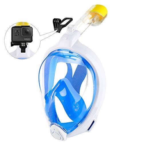ORSEN Tauchmaske Vollgesichtsmaske für Erwachsene & Kinder, Faltbare Schnorchelmaske Vollmaske mit 180° Sicht und Action Kamera-Halterung, Müheloses Atmen,S/M,Blue White2