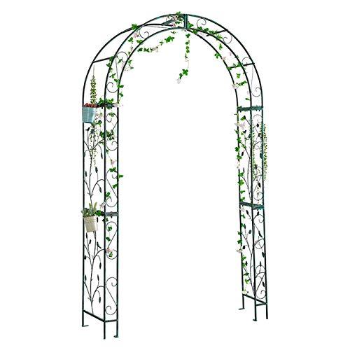 Arco de Jardín Vintage con Patrón de Hojas, 122x40x220cm, Arco como Soporte para Plantas Trepadoras, Hierro, Verde Vintage