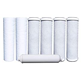 "Watts Premier WP500024 Standard Annual 7 Pack Replacement Filter Kit 9 <p>RO WATER FILTERS: This 500024 Annual 7-Pack of filters is designed for use with Watts Premier's RO-TFM-5SV, WP-ST6DM, WP-5 and WP5-50 Reverse Osmosis Systems. Save money by purchasing a Years Supply of Filters in one kit rather than individually. This kit will work with any standard 10"" filter housing. RO FILTER KIT CONTENTS: Watts Premier Annual 7-Pack Filter kit includes Two - 5 Micron Sediment Filters (104017), Four - 5 Micron Carbon Pre-Filters (101009) Made of high quality activated carbon, One - 10"" GAC (Granular Activated Carbon) Inline Post-Filter (560010). REVERSE OSMOSIS WATER FILTER: Maintain your Watts Premier 5 or 6 Stage Reverse Osmosis Filtration System with this Annual 7-Pack Filter Kit to keep your home filled with crystal clear, high quality drinking water. It is more economical and the water replacement filters are NSF compliant. EASY FILTER MAINTENANCE: Watts Premier only uses NSF Coconut Shell Activated Carbon in all Carbon Filters. In order to maintain your system in its top performance it is recommended to change out the Sediment and Carbon Pre-filters every 6 months, the GAC Inline Post-Filter should be changed out annually. This will ensure you have crystal clear, high quality and great tasting water! RO FILTER PERFORMANCE: The Sediment Pre-Filter reduces dirt, silt and rust which affect the taste and appearance of your water. The Carbon Pre-Filter reduces chlorine taste and odors, also conditions the water before it is treated by the reverse osmosis membrane. The GAC Inline Post-Filter removes chemicals that give objectionable odors or tastes to water such as hydrogen sulfide (rotten eggs odor) or chlorine.</p>"