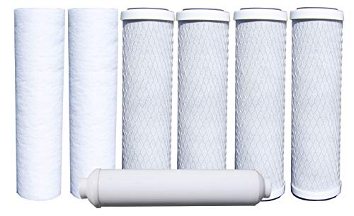 """Watts Premier WP500024 Standard Annual 7 Pack Replacement Filter Kit, White, 10.5"""" x 19.50"""" x 3"""" (WPRL-58) 1 RO WATER FILTERS: This 500024 Annual 7-Pack of filters is designed for use with Watts Premier's RO-TFM-5SV, WP-ST6DM, WP-5 and WP5-50 Reverse Osmosis Systems. Save money by purchasing a Years Supply of Filters in one kit rather than individually. This kit will work with any standard 10"""" filter housing. RO FILTER KIT CONTENTS: Watts Premier Annual 7-Pack Filter kit includes Two - 5 Micron Sediment Filters (104017), Four - 5 Micron Carbon Pre-Filters (101009) Made of high quality activated carbon, One - 10"""" GAC (Granular Activated Carbon) Inline Post-Filter (560010). REVERSE OSMOSIS WATER FILTER: Maintain your Watts Premier 5 or 6 Stage Reverse Osmosis Filtration System with this Annual 7-Pack Filter Kit to keep your home filled with crystal clear, high quality drinking water. It is more economical and the water replacement filters are NSF compliant."""