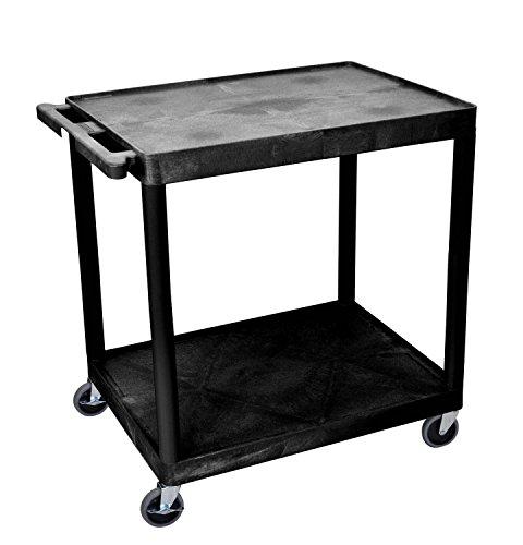 Luxor He38-B Multifunction 2 Shelf Rolling Utility Cart Heavy Duty Storage Cart for Home, Office, Garage, Warehouse, Shops, Cafes - Black