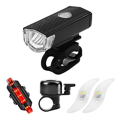Fahrradbeleuchtung, USB Wiederaufladbare LED Fahrradlicht Set Rennrad Licht, Fahrradlicht Vorne Rücklicht Set mit 3 Licht-Modi, IPX4 Wasserdicht Fahrradlampe für Fahrrad Set